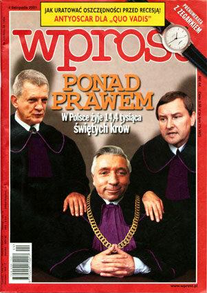 Okładka tygodnika Wprost nr 44/2001 (988)