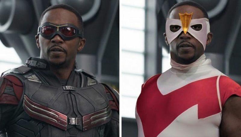 Falcon (po lewej w filmie, po prawej zgodnie z komiksem)
