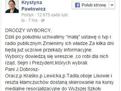 Krystyna Pawłowicz wysyła dziennikarzy TVP na szkolenie do szkoły ojca...