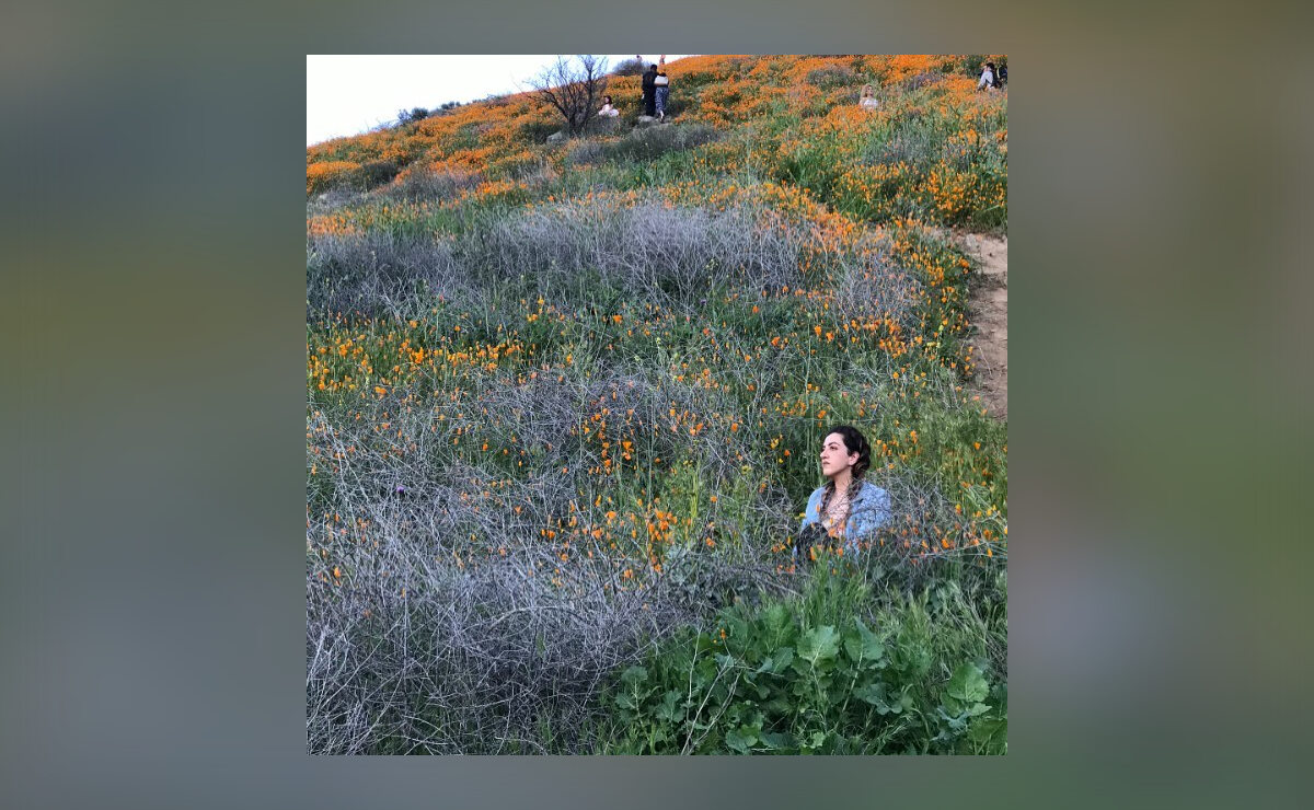 Turyści chętnie pozują do zdjęć na tle kwitnących kwiatów