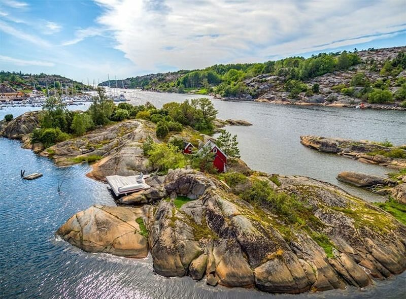 Domek na prywatnej wyspie w Norwegii