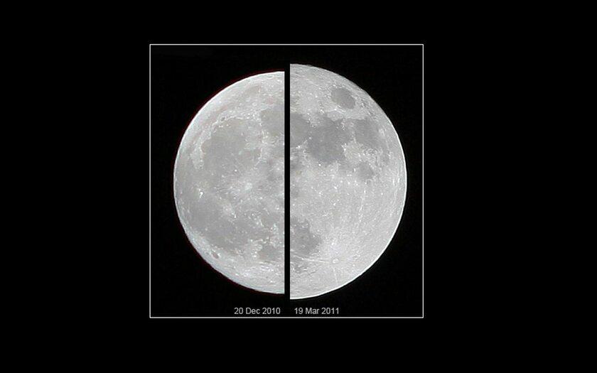 """Superksiężyc 19 marca 2011 r. (z prawej) w porównaniu ze """"zwykłym"""" widocznym 20 grudnia 2010 r."""
