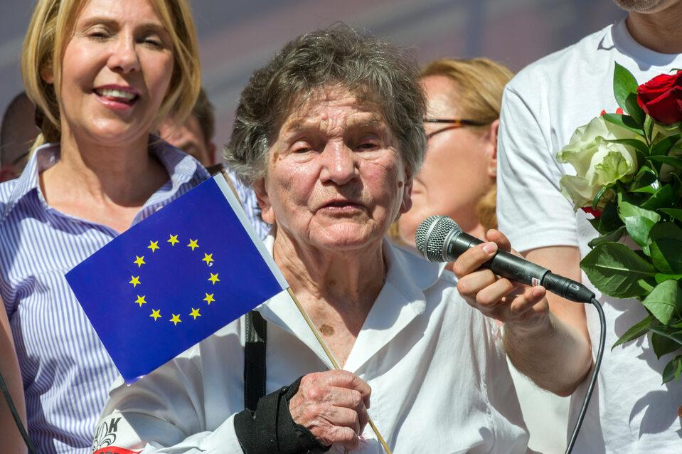 Wanda Traczyk-Stawska na Marszu Wolności w 2018 r.