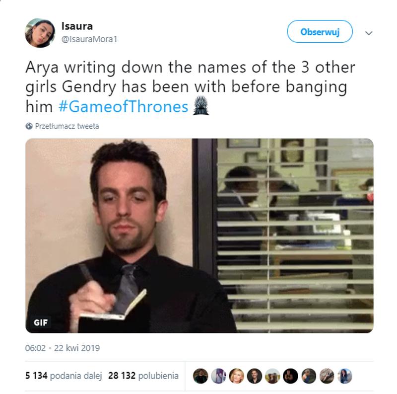 Arya zapisująca imiona trzech innych dziewczyn, z którymi przespał się Genry