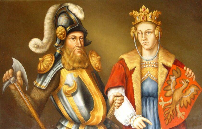 Elżbieta Kazimierzówna i Bogusław V, obraz z zamku w Darłowie